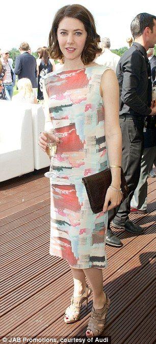 Stylish actress Catherine Steadman wears a multi-coloured slash necked dress... #mua #MAC #bennye #danielsandler #CatherineSteadman