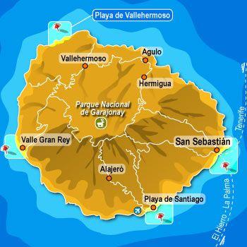 La Gomera es geológicamente una de las más antiquas del archipiélago. Se puede encontrar el Parque Nacional de Garajonay que se extiende por todos los municipios de La Gomera. En 2012 hubo un incendio que destruyó  más de 4.000 hectáreas de la isla.