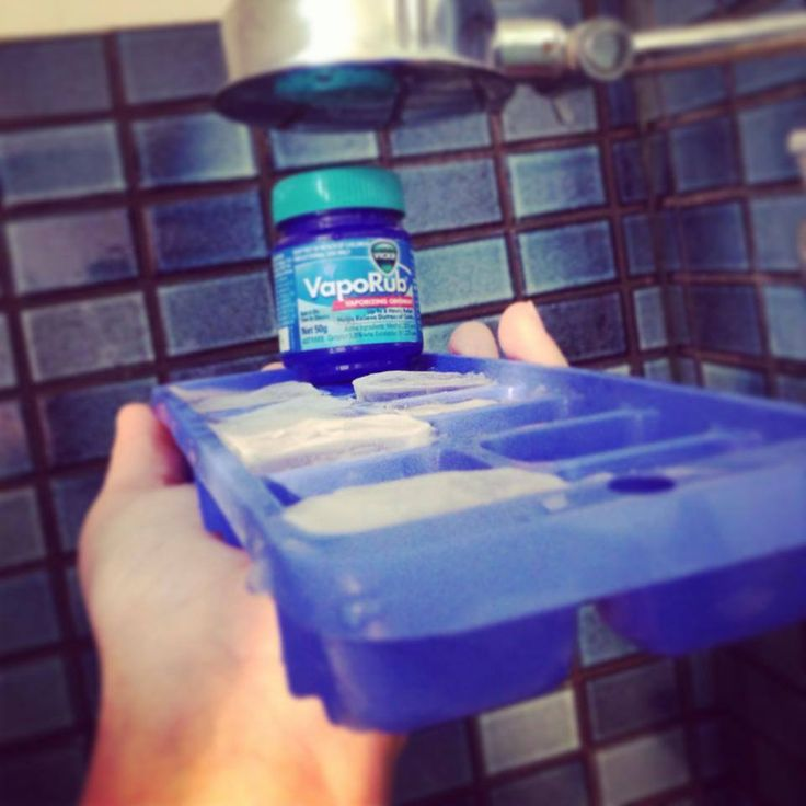 I am sick at the moment, and these Vicks ice blocks have helped my nasal congestion immensely. I just wish we had more water for more showers and longer ones. Just mix up 1litre of boiling water and 2 tablespoons of Vicks vapour rub stirring until combined. Freeze over night and put one in the bottom of your shower and they steam up giving relief from clogged noses and ears.....