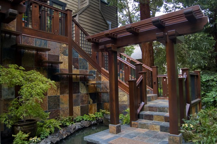 Craftsman style patio patio contemporary with outdoor water fountain stone…