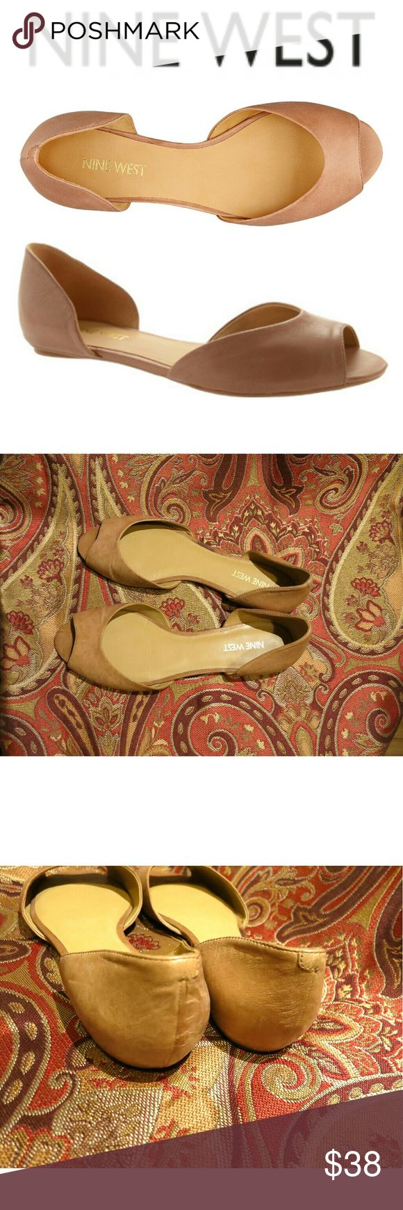 Byte Me Tan Leather Peep Toe Flats Nine West Byte Me leather flats in excellent condition. Worn only once, so it has very clean soles both outer and inner. A little wrinkling of the leather, but in generally like new condition! Size 8 women's. Nine West Shoes Flats & Loafers