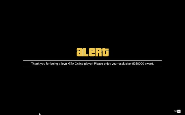 Just Received a 'loyal GTA Online Player' Award of $1350000 #GrandTheftAutoV #GTAV #GTA5 #GrandTheftAuto #GTA #GTAOnline #GrandTheftAuto5 #PS4 #games