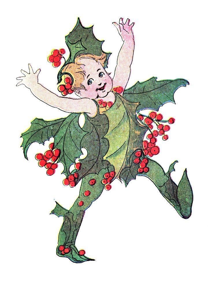 Free Vintage Clip Art Flower Fairies Christmas