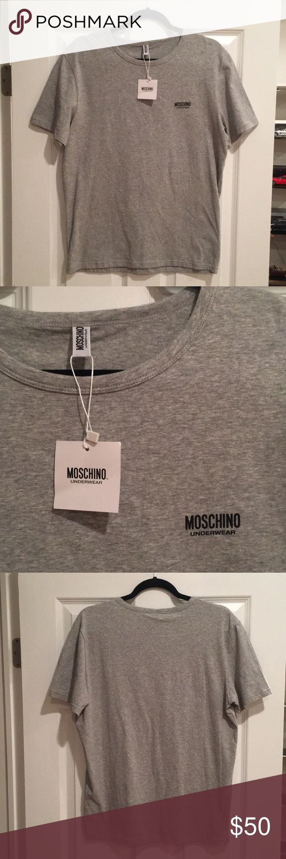 NWT BRAND NEW MOSCHINO UNDERWEAR T SHIRT Brand new.  Unworn.  Selling b/c too small and w/tags.  Original price $50.  Size small.  SPECIAL LOW PRICING FOR NEW YEARS!!!!  LOW PRICING ENDS ON JANUARY 12!!! Moschino Shirts Tees - Short Sleeve