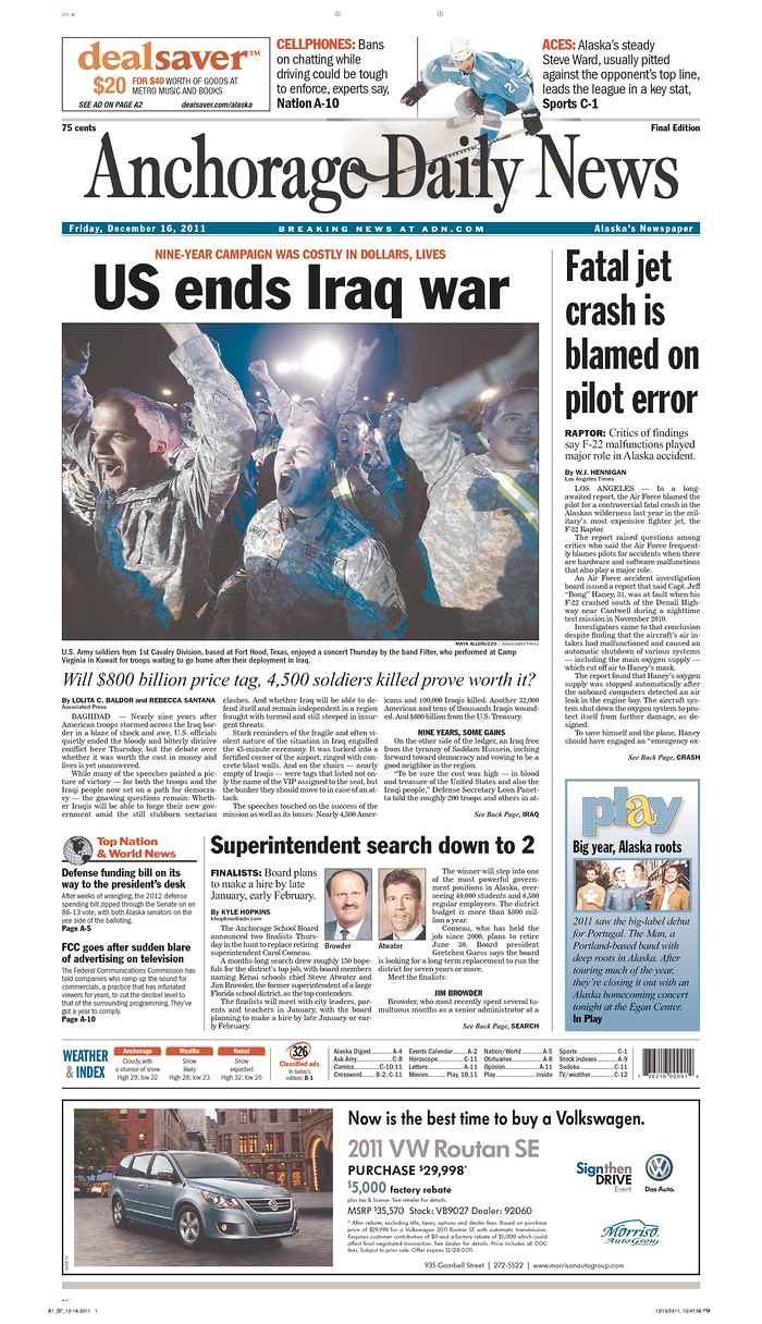 Dec. 16, 2011 US ends Iraq War