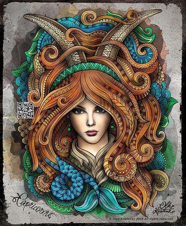 "Zodiac illustration series ""CAPRICORNUS"""