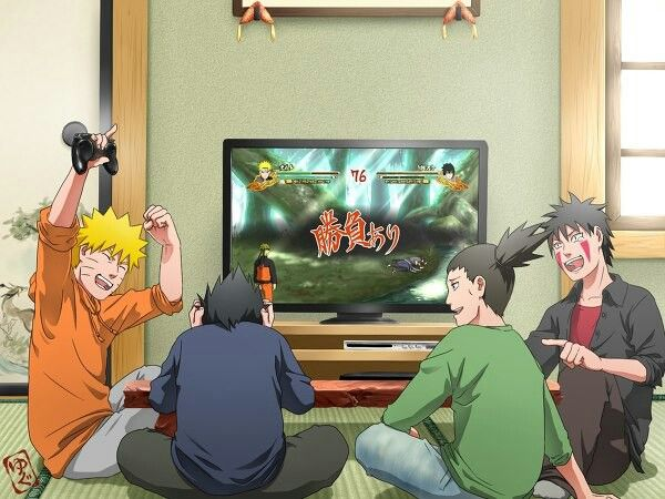 Haha Naruto, Sasuke, Shikamaru, and Kiba in real life playing video games