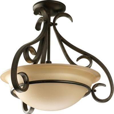Progress Lighting Torino Collection 3-Light Forged Bronze Semi-Flush Mount-P3843-77 - The Home Depot