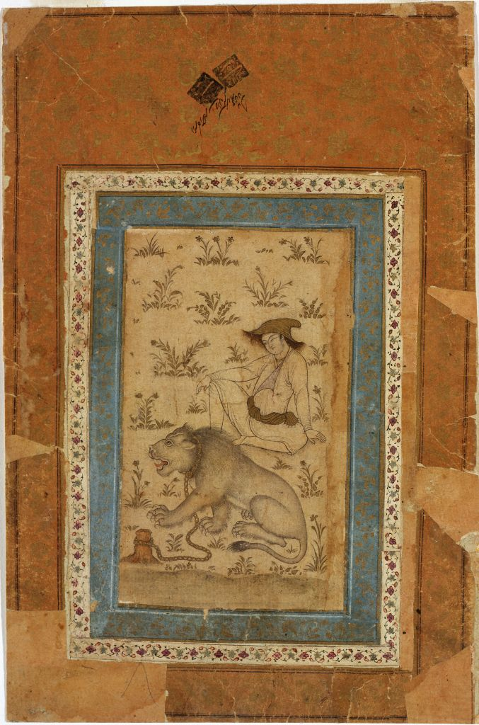 Iran, unknown artist (Iranian), Untitled (A Young Man and Chained Lion), 19th century, ink, gold, and light color on paper