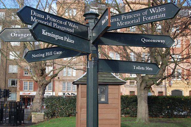 Direction sign near the Diana Memorial Playground in Kensington Gardens by Chris Devers, via Flickr