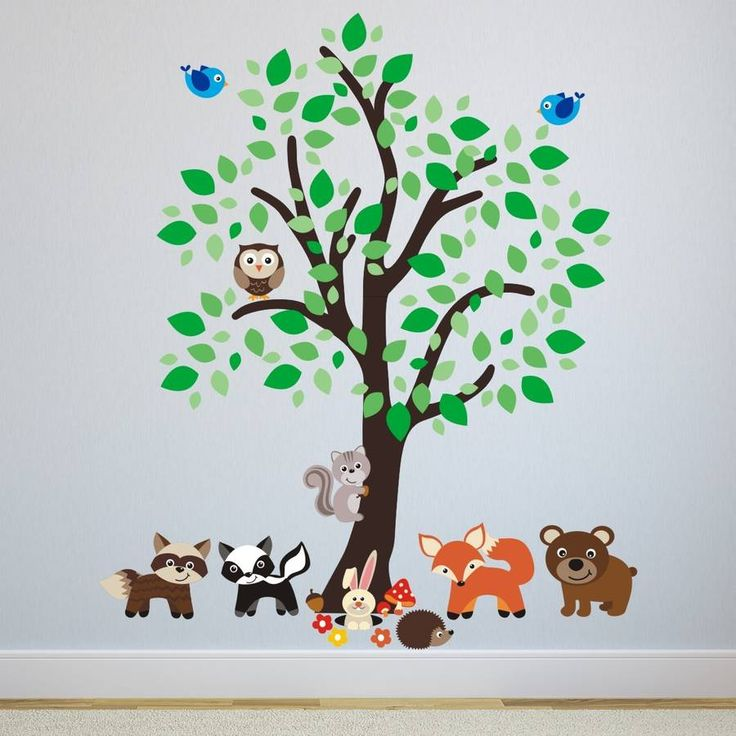 forest tree with woodland animals wall sticker by mirrorin | notonthehighstreet.com