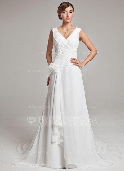 Forme Princesse Col V Traîne mi-longue Mousseline Robe de mariée avec Plumes Fleur(s) Robe à volants (002011459)