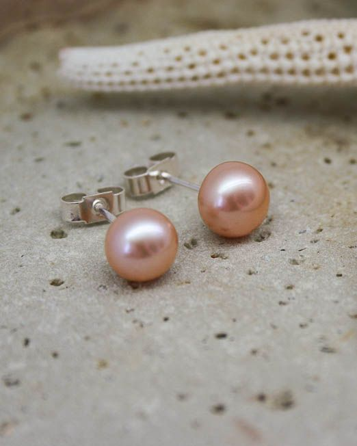 Pink freshwater pearl studs with good quality sterling silver posts and silver butterflies.  The pearls are 6mm.  #Bridal #Earrings #HandmadeJewellery #Pearl #Silver #Starboard #Wedding