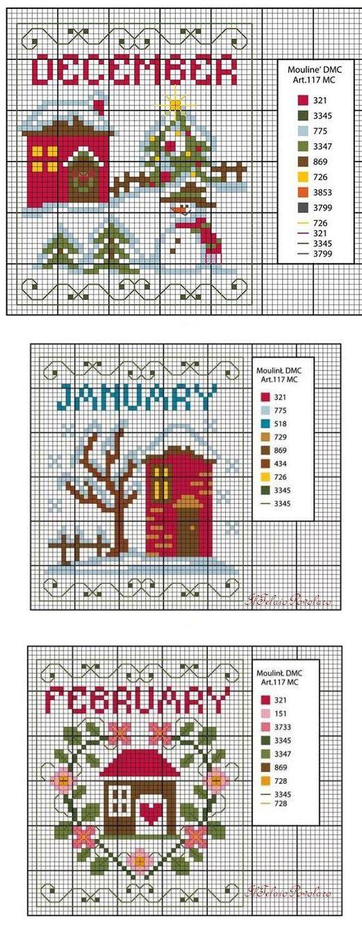 Christmas houses cross stitch pattern | Схема вышивки крестиком, новогодние домики