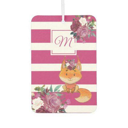 Cute Red Squirrel Watercolor Pink Floral Stripe Car Air Freshener - monogram gifts unique custom diy personalize