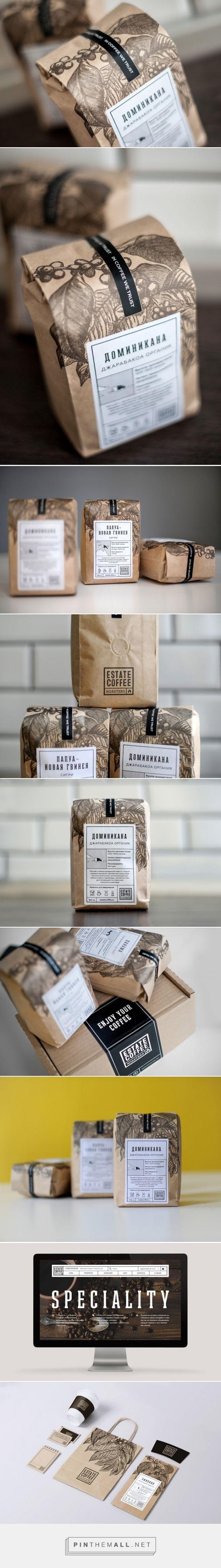 Estate Coffee Roasters packaging designed by AHEAD (Russia) Taler ind i den kvalitetsbevidste forbrugers behov med det æstetiske udtryk og duftprøven på bagsiden. Købet bliver en sanselig oplevelse.