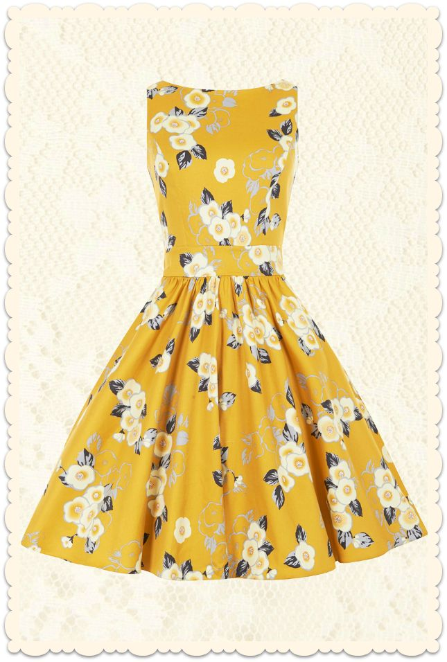Robe rétro vintage 50s pin-up Tea Yellow Floral jaune doré