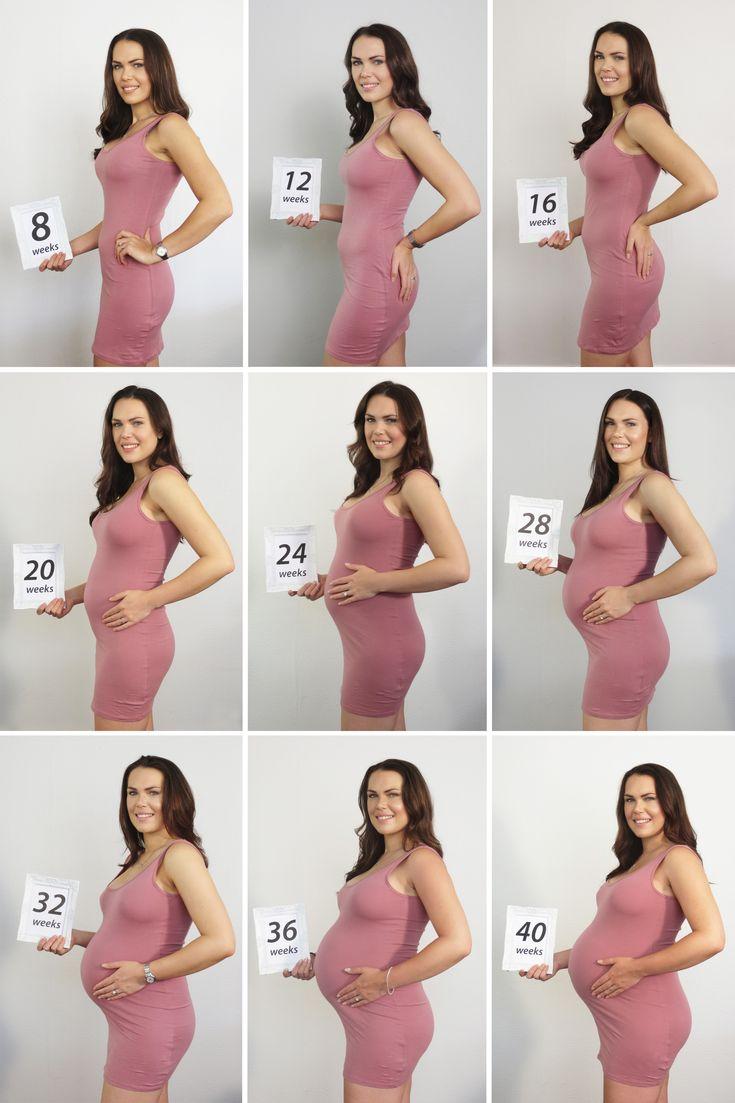 Baby bump progression photo.