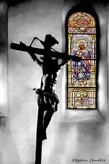 Cross & Window from inside a church in Benalup-Casas Viejas, Spain