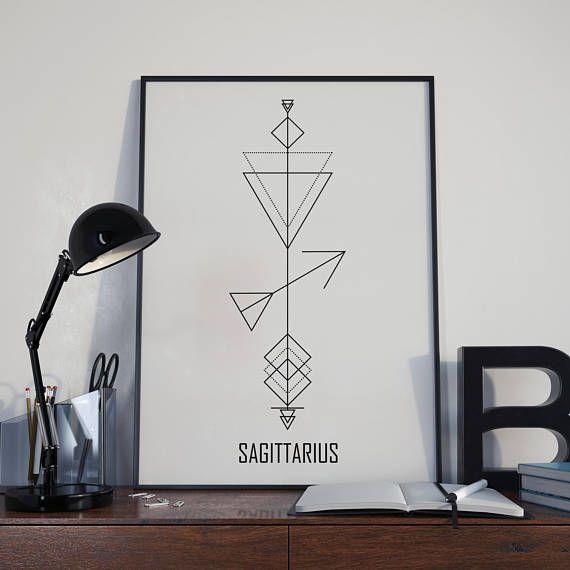 Sagittarius Print Astrology Poster Sagittarius Wall Art Zodiac Decor Sagittarius Birt Geometric Tatto Tatouage Constellation Sagittaire Tatouage Sagittaire