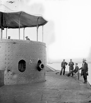 ... Civil War naval battle. USS Monitor Turret Closeup of the USS Monitor's turret (Library of Congress)
