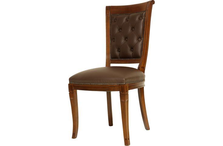Καρέκλα κατασκευασμένη από φυσικό ξύλο οξιάς μασίφ.Οι ενώσεις του σκελετού είναιμε καβίλιες,διαθέτει επίσης δεσίματα με τάκους για αυξημένη αντοχή.Διατίθεται με διάφορες επενδύσεις.