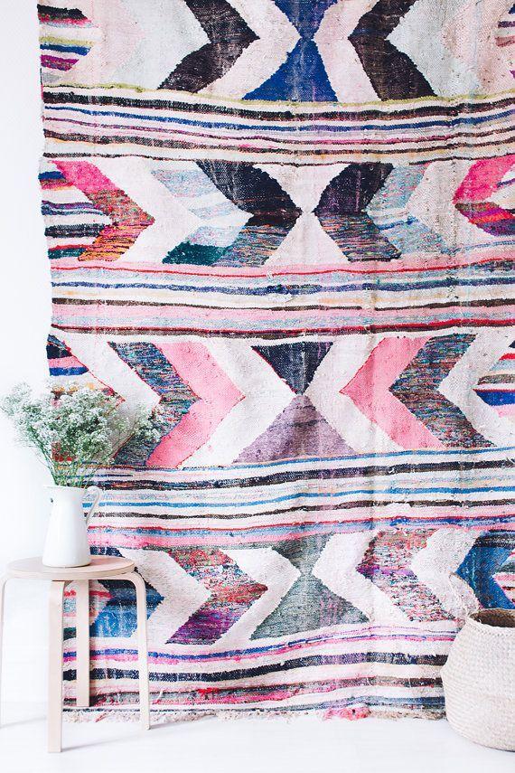 "Vintage Moroccan Boucherouite Kilim Rug, ""The Ila"", Rag Rug, Bohemian, Pastel Rug, Woven Berber Rug, Scandinavian, Geometric Pattern"