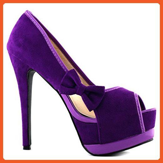 Show Story New Sexy Purple 2 Tone Bow Peep Toe Platform Pumps,LF80900PP40,9US,Purple - Pumps for women (*Amazon Partner-Link)