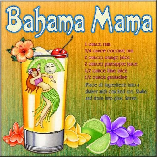 Bahama Mama Recipe ~ I like to replace the regular rum with creme' de banana (or other banana liqueur)...tastes just like Applebee's version when you use the banana liqueur and the coconut rum :)
