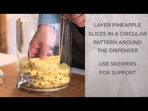 @Pottery Barn how-to for assembling the layered pineapples into a beverage dispenser