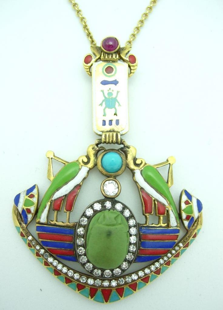 18kt Gold Egyptian Revival Pendant and Chain with Diamonds, Enamel, from cynthiafindlayantiques on Ruby Lane