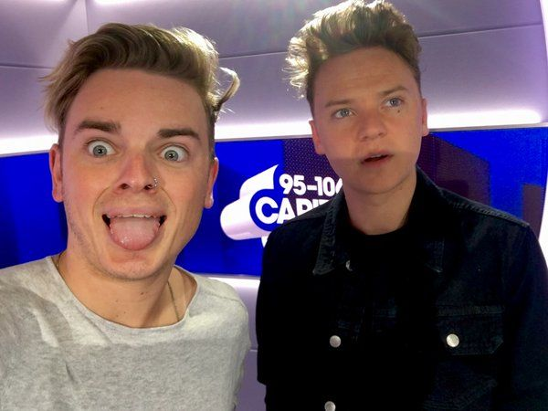 Jack and Conor Maynard are hosting Capital radio right now!!! My two favorite brothers yes!!! Btw I love this photo lol!!! ♥ (Photo Credit: Capital Twitter)