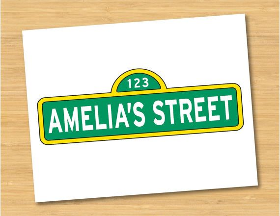Personalized Street Signs >> Sesame Street Name Sign Logo Personalized Printable ...