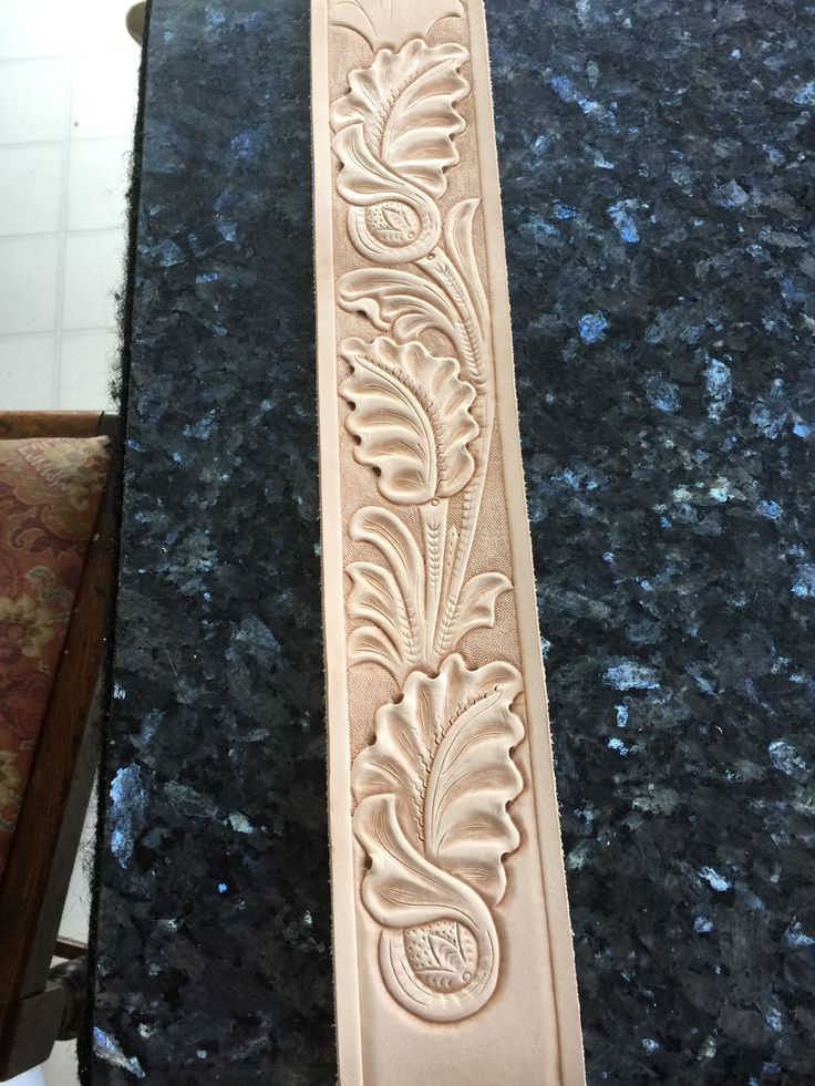 Leather guitar strap hand tooled with sheridan style