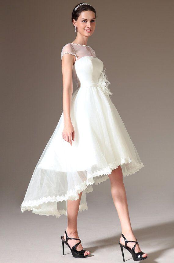 Superb Custom Made Sheer Top Cap Sleeves High Low Wedding Dress