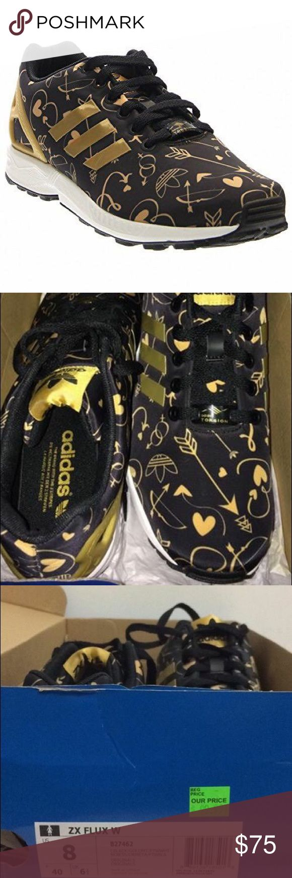 New in box Women's Adidas ZX Flux black/gold, sz 8 Re-posh I love these but I never wore them. Adorable black and metallic gold details. Size 8. ZX Flux. Rare/ hard to find anymore. Comes in box. Adidas Shoes Athletic Shoes