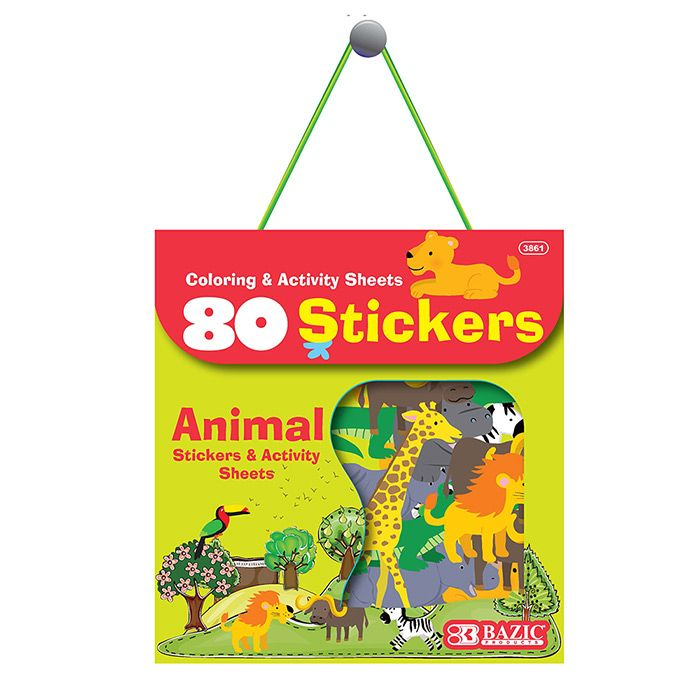 Animal Series Assorted Sticker 80 Bag Mazer Wholesale Inc Animal Stickers Addition Flashcards Activity Sheets