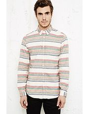 Shore Leave Striped Flannel Shirt in Red
