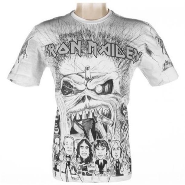"""Camisa Iron Maiden  Essa estampa foca o morto vivo """"EDDIE the head"""" em várias formas, mas o grande destaque é que esse desenho tem uma caricatura da banda completa com sua melhor formação : """"Bruce Dickinson, Adrian Smith, Dave Murray, Janick Gers, Steve Harris e Nicko McBrain."""" Nossas camisas são confeccionadas em malha 100% algodão penteado, 30 fios. Desenhadas artisticamente e estampadas por processo de serigrafia manual, nossas camisetas, são sempre pensadas para oferecer conforto…"""