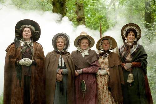 Barbara Flynn as Mrs Jamieson, Judi Dench as Miss Matty Jenkyns, Julia McKenzie as Mrs Forrester, Imelda Staunton as Miss Octavia Pole,  Deborah Findlay as Miss Tomkinson in CRANFORD
