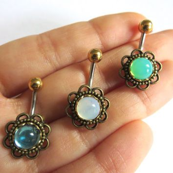 Glass Opal Flower Rose Daisy Belly Button Ring Navel Piercing Bronze Stud Bar Barbell Aqua Turquoise White Mint Green Seafoam
