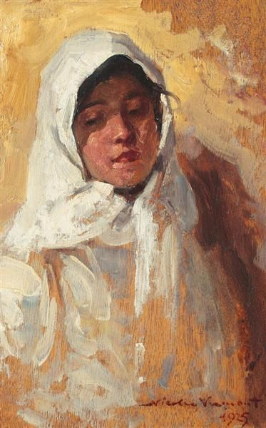 Peasant Woman with White Headscarf, 1925 by Nicolae Vermont. Impressionism. portrait