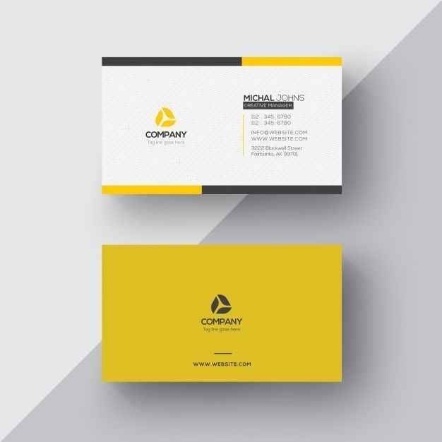 White And Yellow Business Card Yellow Business Card Business