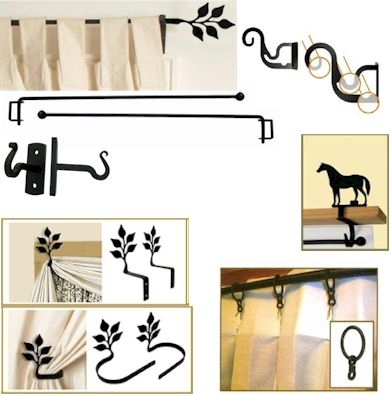 Durable wrought Iron Curtain Rods, Brackets, Double/Triple Curtain Brackets, Rings, Swags, Tie Backs, Crane Sets and Curtain Shelf Brackets. Click on the product to choose from several silhouette designs.