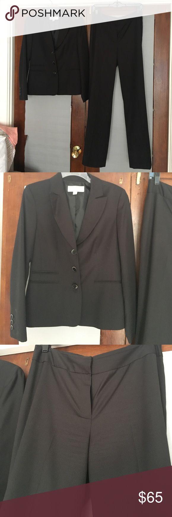 Jones New York Suit - Women's Black pinstripe suit NWOT wore once! Black and grey pinstripe suit. Jones of New York women's size 8. 3 button blazer with flat front pants. Jones New York Jackets & Coats Blazers
