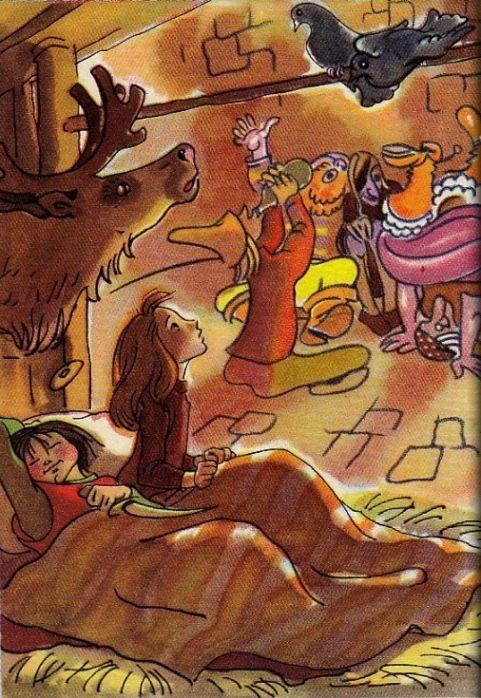 Ганс Христиан Андерсен - Снежная королева (иллюстрация Ники Гольц) Вдруг лесные голуби проворковали: — Курр! Курр! Мы видели Кая! Белая курица несла на спине его санки, а он сидел в санях Снежной королевы. Они летели над лесом, когда мы, птенчики, ещё лежали в гнезде; она дохнула на нас, и все умерли, кроме нас двоих! Курр! Курр!