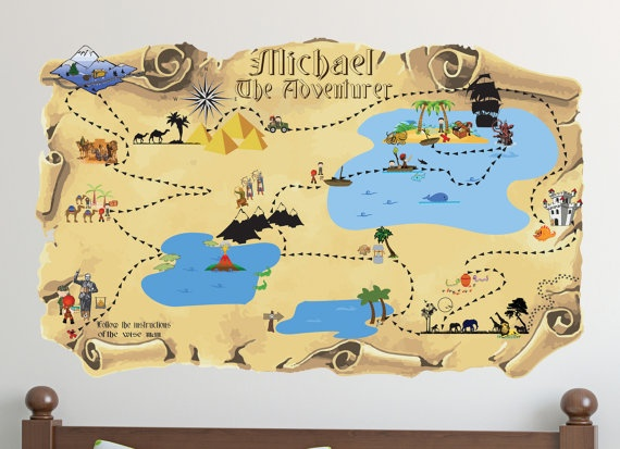 Personalized name vinyl wall decal treasure map adventure pirates five continents search