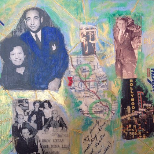 mixed media collage of my mom and dad, LA, relatives. www.daniellawoolf.com