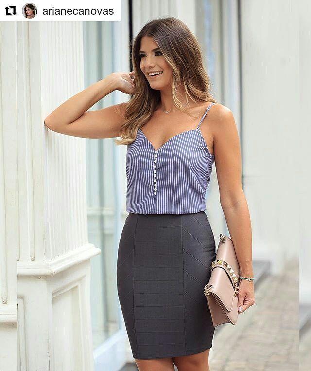 #Repost da linda @arianecanovas! ❤ ・・・ Saia de bandagem deusa + regata de tricoline @doceflorsp  E o tanto que essa saia veste bem  amei!