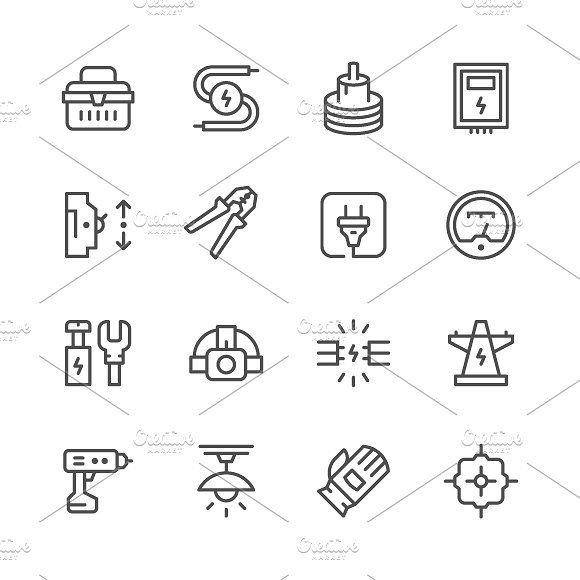 Set line icons of electricity by motorama on @Graphicsauthor